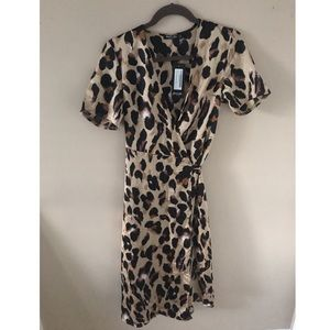 Satin Cheetah Print Midi Wrap Dress